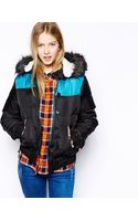 Bellfield Bomber Jacket with Fur Trim Hood - Lyst