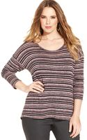 Jessica Simpson Plus Size Three-quarter-sleeve Striped Top - Lyst