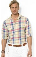 Polo Ralph Lauren Customfit Plaid Linen Workshirt - Lyst