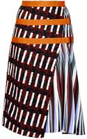Peter Pilotto Ltn Tweed and Printed Crepejersey Skirt - Lyst