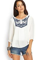 Love 21 Embroidered Woven Peasant Top - Lyst