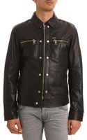 Diesel Bunmi Black Leather Jacket Zip Chest - Lyst