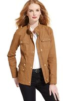 Tommy Hilfiger Coated Leather Trim Jacket - Lyst