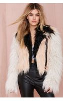 Nasty Gal Chaser Block Party Faux Fur Moto Jacket - Lyst