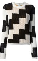 Carven Open Knit Striped Sweater - Lyst