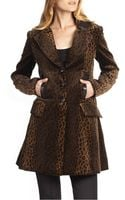 Nanette Lepore Destination Leather-trimmed Leopard-print Coat - Lyst