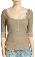 Free People Wide Ribbed Jersey Henley - Lyst