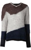 Tibi Colorblock Sweater - Lyst