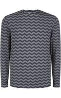 Armani Long Sleeve Zigzag Tshirt - Lyst