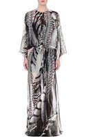 Roberto Cavalli Leopard-print Silk-chiffon Kaftan - Lyst