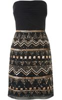 Js Collections Aztec Beaded Strapless Dress - Lyst