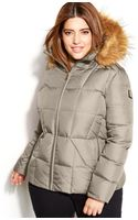 Calvin Klein Plus Size Fauxfurtrim Hooded Puffer Down Coat - Lyst