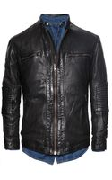 He By Mango Quilted Panel Leather Jacket - Lyst