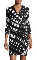 Donna Morgan Latticeprint Jersey Wrap Dress - Lyst