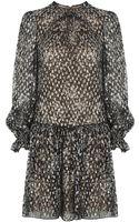 Michael Kors Metallic Drop Waist Dress - Lyst