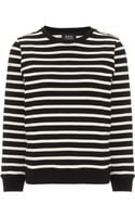 A.P.C. Noir Striped Cotton Marin Jumper - Lyst