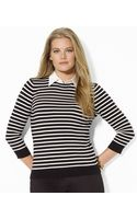 Lauren by Ralph Lauren Striped Collared Sweater - Lyst