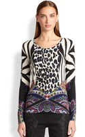 Etro Leoparddetail Silk Cashmere Sweater - Lyst