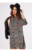 Missguided Aleyna Button Up Shirt Dress Paisley Print - Lyst