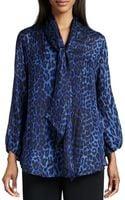 Caroline Rose Leopard-print Silk Blouse - Lyst