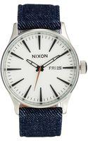 Nixon Denim Strap Sentry Watch A105 - Lyst