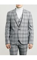 Topman Light Grey and Burgundy Check Suit Jacket - Lyst