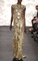 Naeem Khan Gold Sequin Gown - Lyst