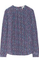 M Missoni Pleated Printed Silk Top - Lyst