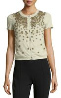 Valentino Cashmere Blend Flower Beaded Tulle Knit Cardigan  - Lyst