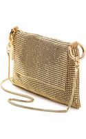 Whiting & Davis Pyramid Mesh Cross Body Bag Gold - Lyst