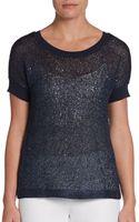 Ellen Tracy Sequined Metallic Knit Top - Lyst