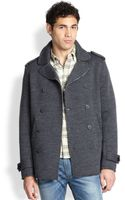 Diesel Doublebreasted Stretch Wool Peacoat - Lyst