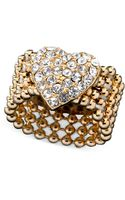 Guess Ring Goldtone Crystal Accent Heart Stretch - Lyst