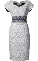Carolina Herrera Cap Sleeve Jacquard Dress - Lyst