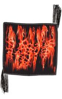 Roberto Cavalli Printed Silk Twill Scarf with Leather Fringe - Lyst
