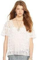 Polo Ralph Lauren Sheer Lace V-neck Top - Lyst