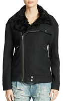 Free People Faux Fur Trimmed Moto Jacket - Lyst