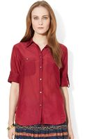 Lauren by Ralph Lauren Cotton Silk Shirt - Lyst