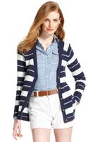 Tommy Hilfiger Striped Vneck Knit Cardigan - Lyst