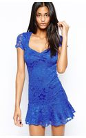 John Zack Lace Dress with Peplum Hem - Lyst