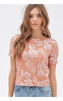 Forever 21 Sequined Floral Lace Top - Lyst