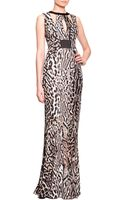 Just Cavalli Harness Cutout Animalprint Gown - Lyst