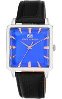 Vince Camuto Stainless Steel Square Watch with Bright Blue Dial - Lyst