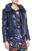 Roberto Cavalli Zip Leather Puffer Jacket - Lyst