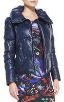 Roberto Cavalli Zip Leather Puffer Jacket - Lyst