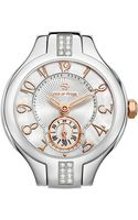 Philip Stein Mini Round Sport Stainless Steelrose Gold Diamond Watch Head Mini Stainless Steel 5link Bracelet - Lyst
