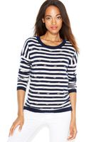 Maison Jules Embellished Striped Cashmere Sweater - Lyst