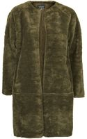 Topshop Faux Fur Bonded Throw On Coat - Lyst