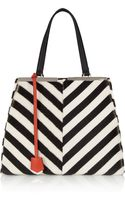 Fendi Striped Shearling and Calf Hair Tote - Lyst