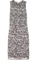 Bottega Veneta Printed Smocked Silkchiffon Dress - Lyst